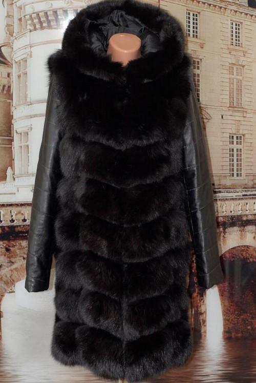 Норковая шуба с кожаными рукавами