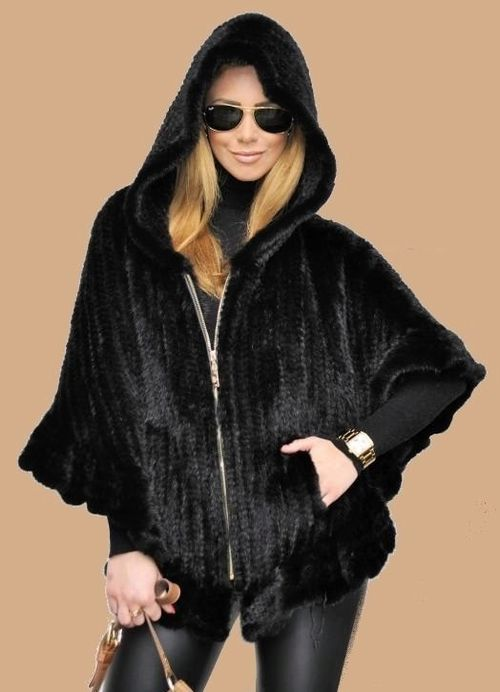 Шуба из вязаной норки черная