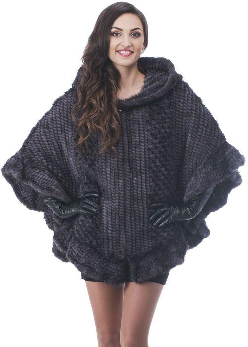 Полушубка темно серого цвета из вязаной норки