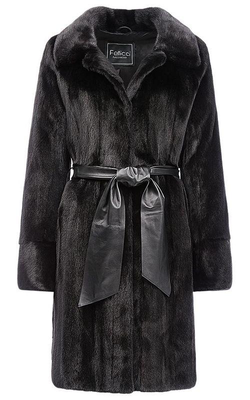 Шуба из аукционной норки с кожаным поясом