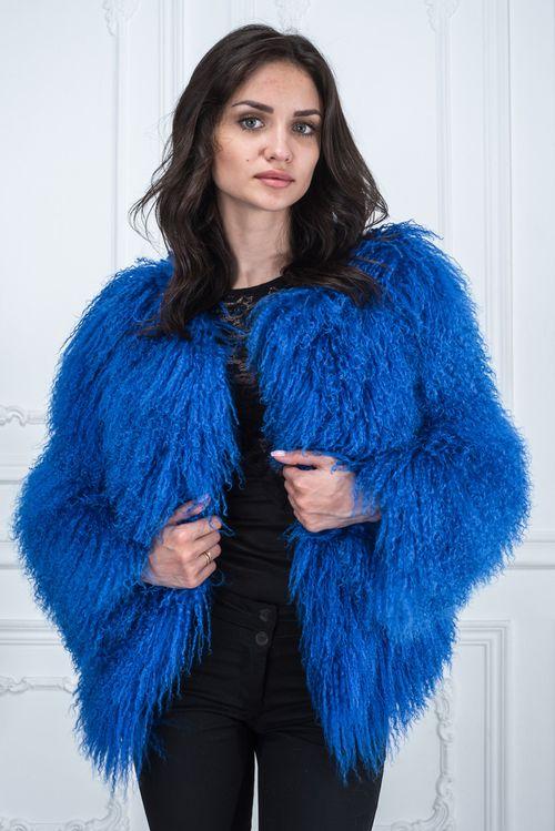 Синяя шуба из меха ламы