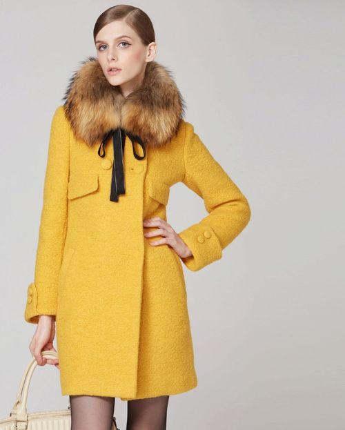 Пальто с опушкой меха