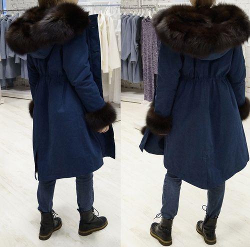 Женская куртка - парка с капюшоном из натурального меха