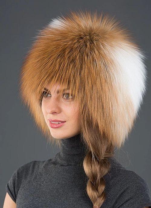 Зимняя шапка из рыжей лисы