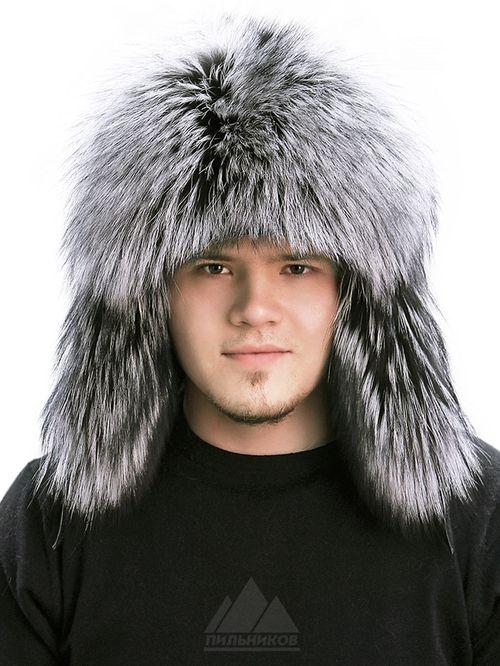 Мужская шапка-ушанка  из чернобурки