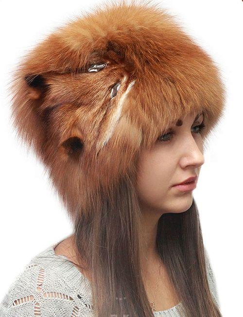 Женская шапка лисья