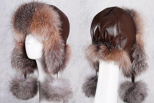 Женская кожаная шапка-ушанка