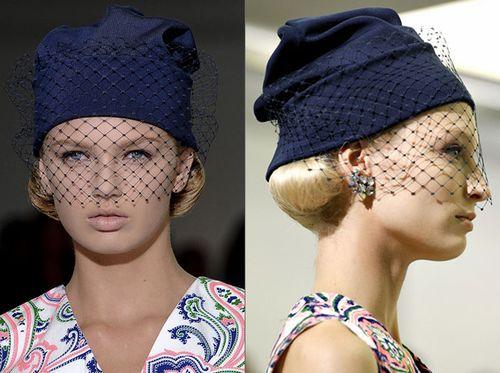 Вязаная шапка с вуалью