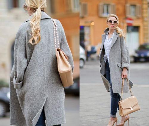 Пальто-оверсайз в сочетании с каблуками