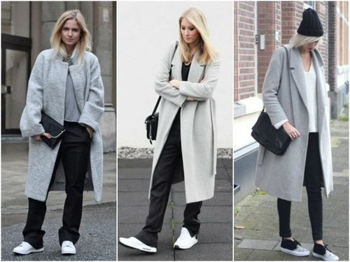Пальто-оверсайз в сочетании с кроссовками
