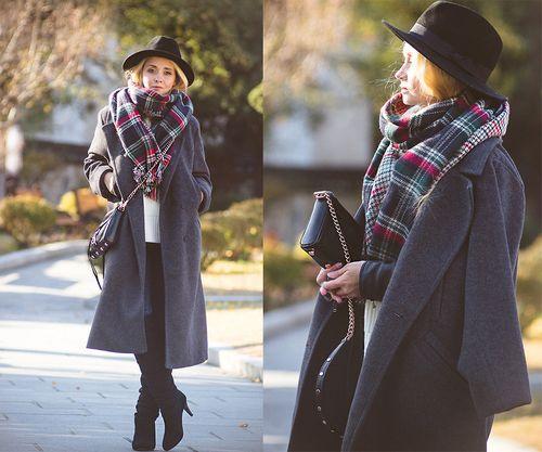 Пальто-оверсайз серое с шляпой