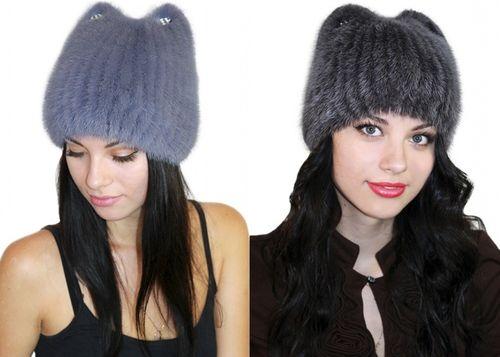 Норковые шапки с ушами