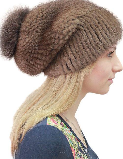 Теплая шапка из меха норки