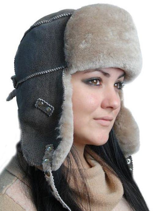 Меховая шапка-ушанка с длинными ушами