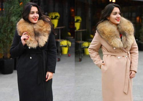 Черное и бежевое пальто