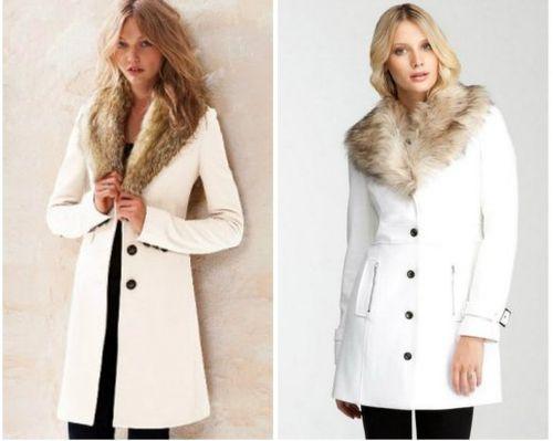 Белое пальто с воротником из меха