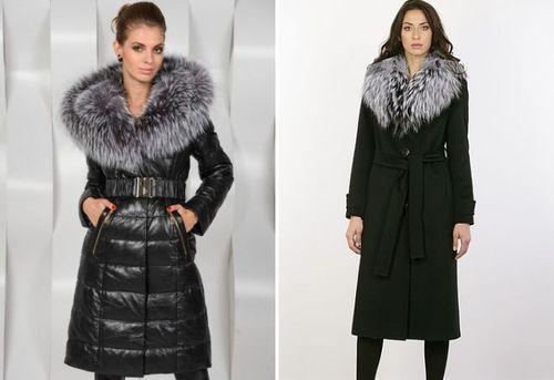 Модная зимняя одежда с меховым воротником