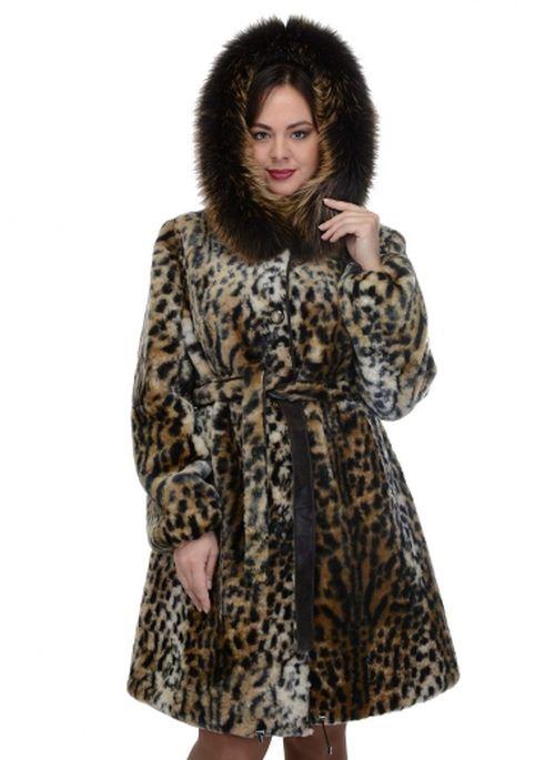 Шуба из мутона, имитирующая шкуру леопарда