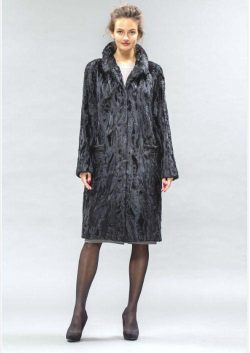 Серое пальто из каракульчи