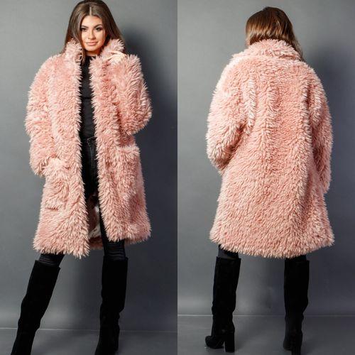 Розовая шуба с пришивными карманами